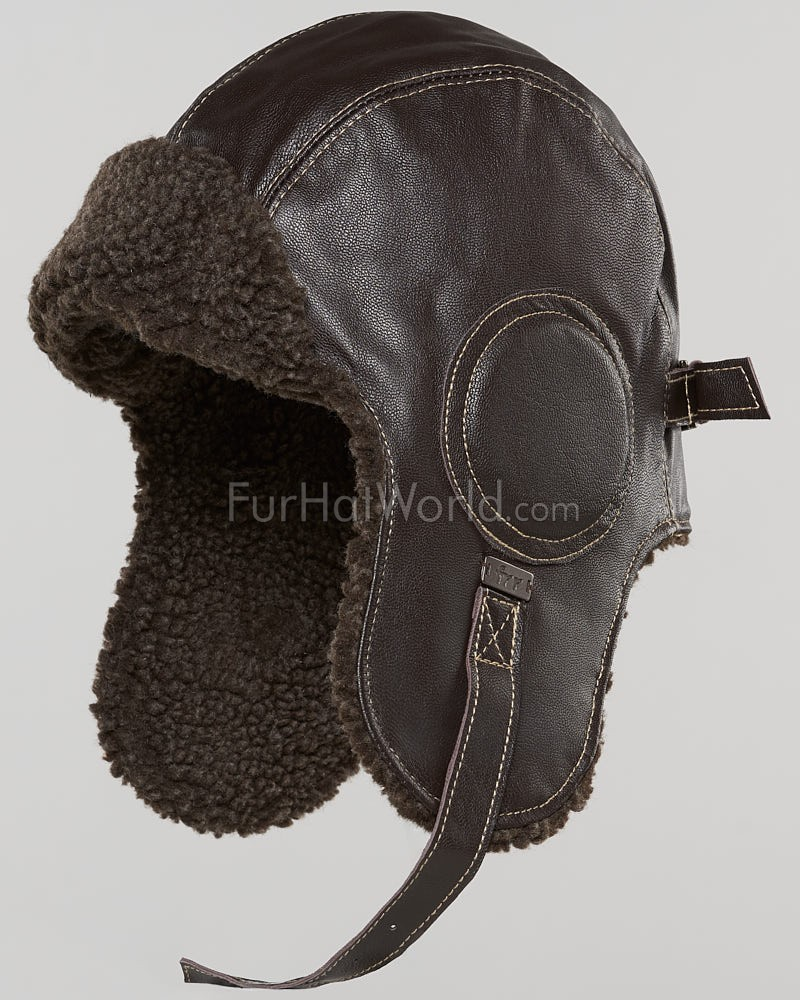 Leather Pilot Hat - Dark Brown