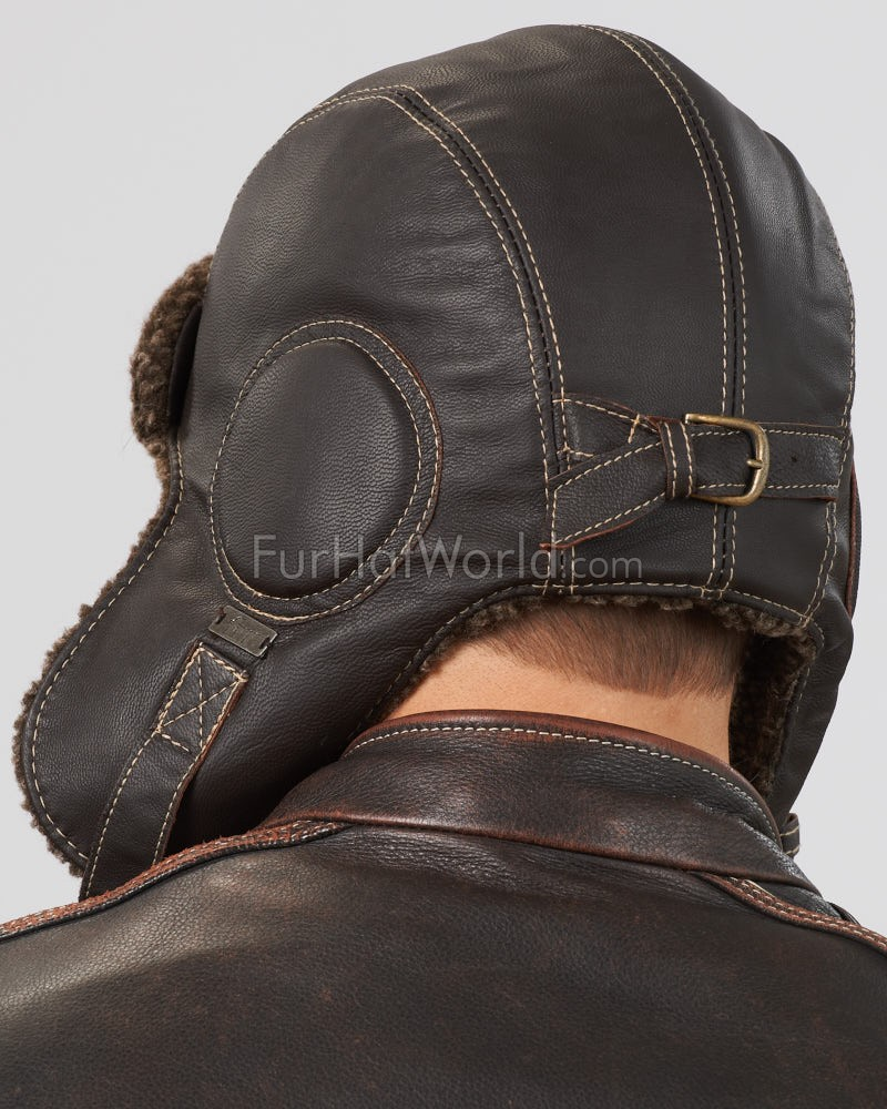 f6184a92 Dark Brown Leather Pilot Hat for Men: FurHatWorld.com