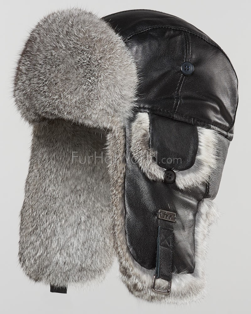 Leather Rabbit Fur Aviator Hat - Black