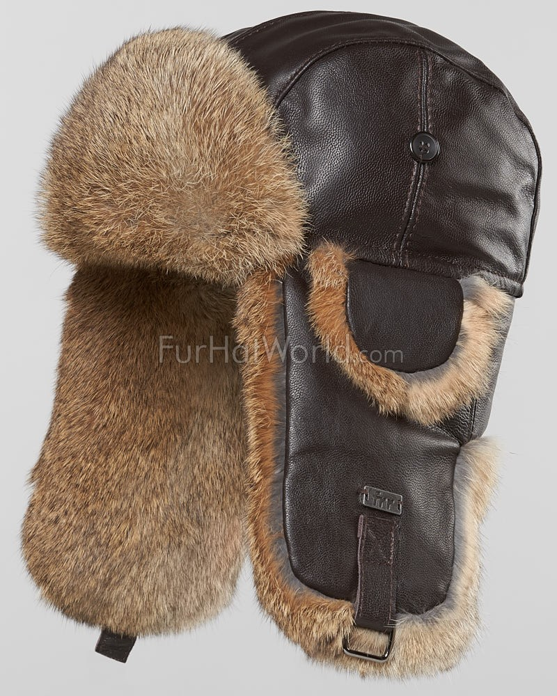 Leather Rabbit Fur Aviator Hat - Brown