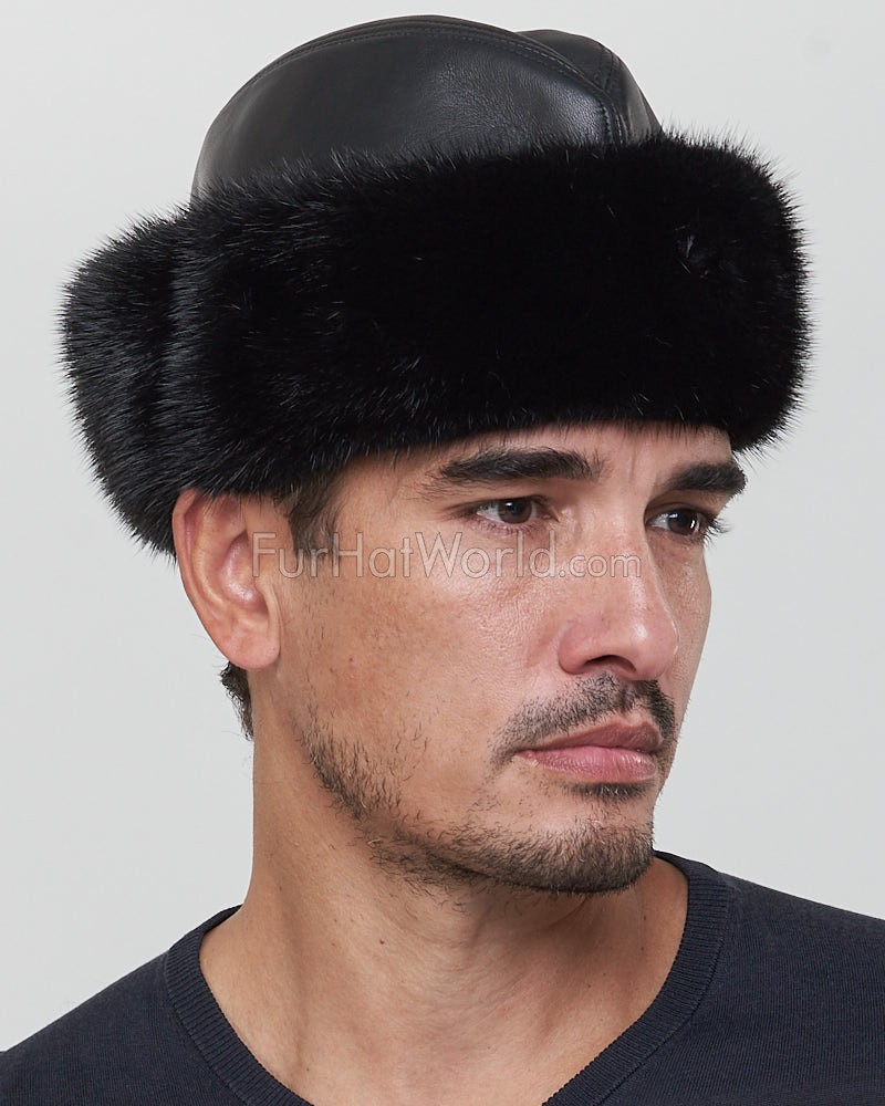 Leather and Mink Fur Cossack Hat in Black for Men