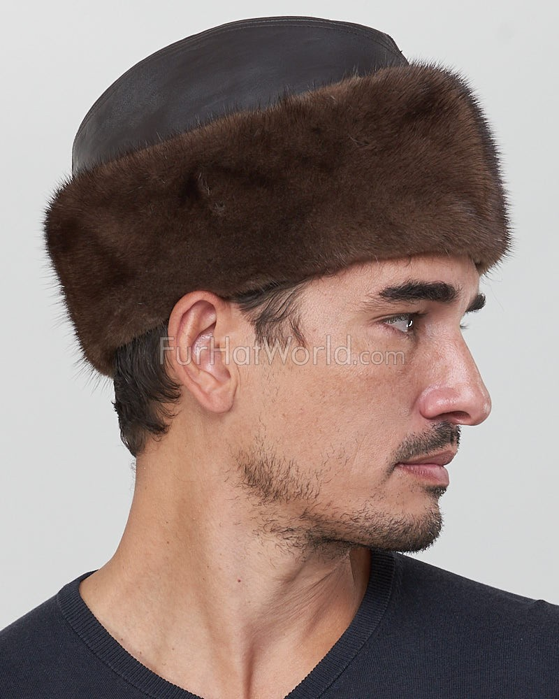 4b7f36db0e8cb Leather and Mink Fur Cossack Hat in Mahogany for Men  FurHatWorld.com