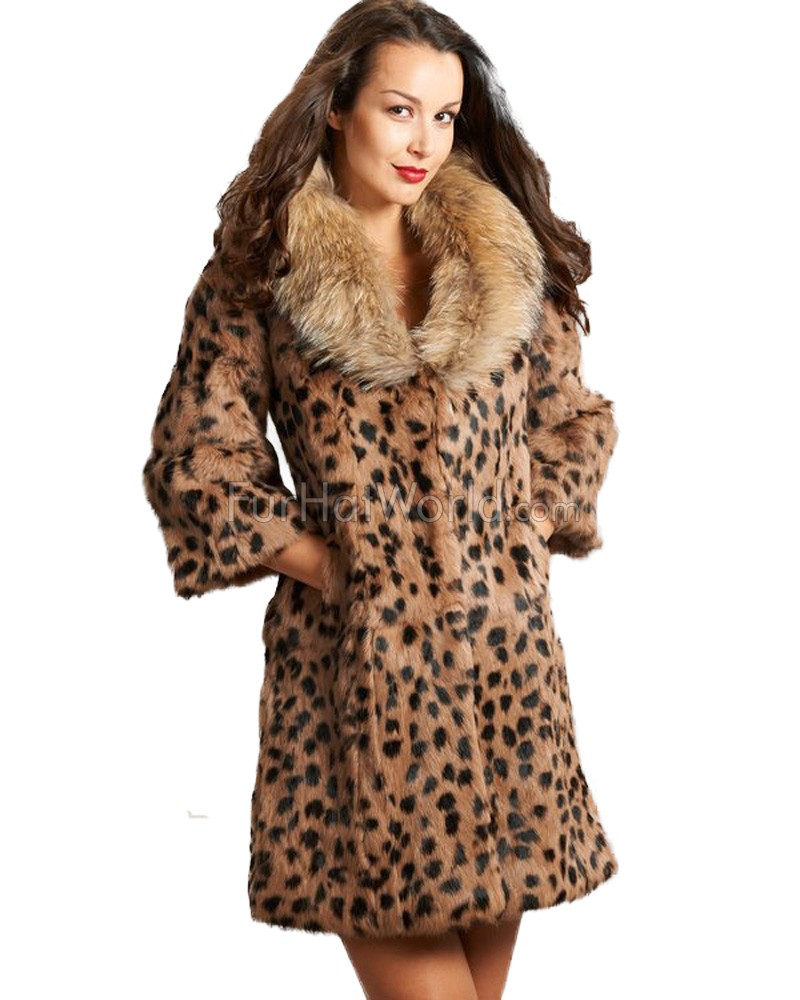 Leopard Print Rabbit Fur Coat with Raccoon Fur Collar