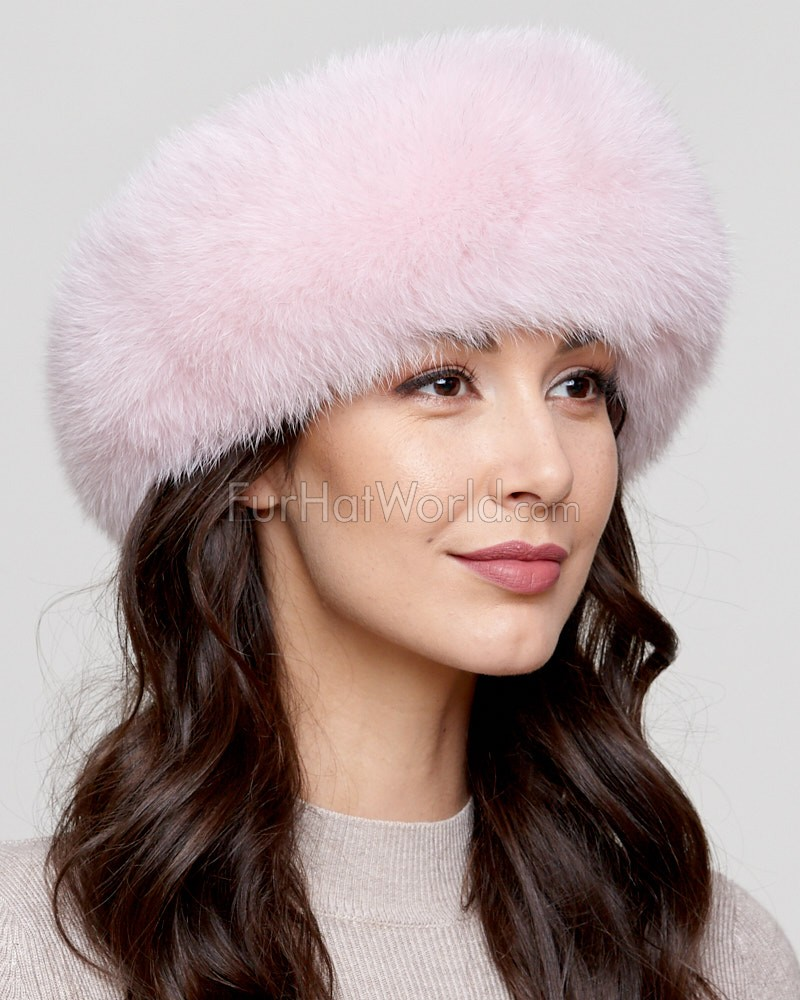Light Pink Fox fur Headband  FurHatWorld.com b6553ce38c3