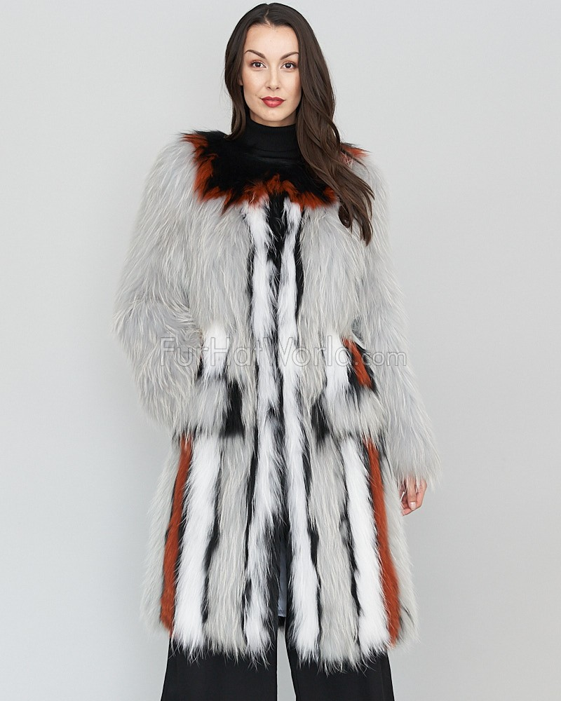 Liliana Knitted Raccoon Fur Long Jacket for Ladies