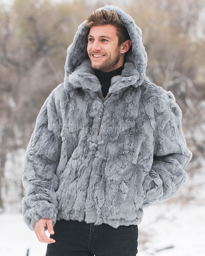 Lincoln Rabbit Fur Hooded Bomber Jacket in Grey