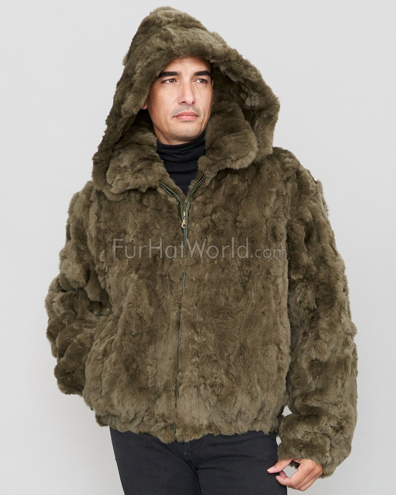 Lincoln Rabbit Fur Hooded Bomber Jacket in Olive