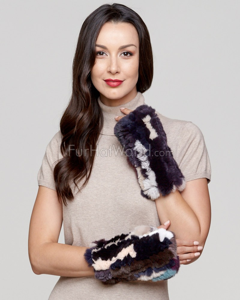 Liza Knit Rex Rabbit Fingerless Gloves in Multi-Color