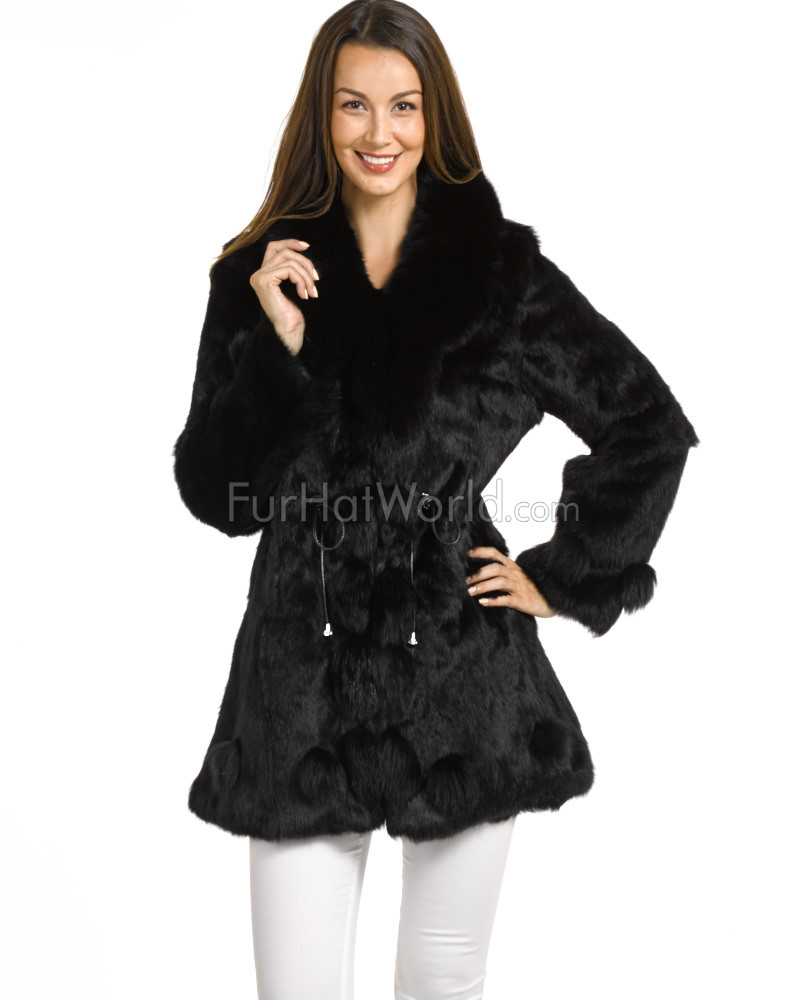 Teagan Black Long Hair Rabbit Fur Car Coat with Fox Trim