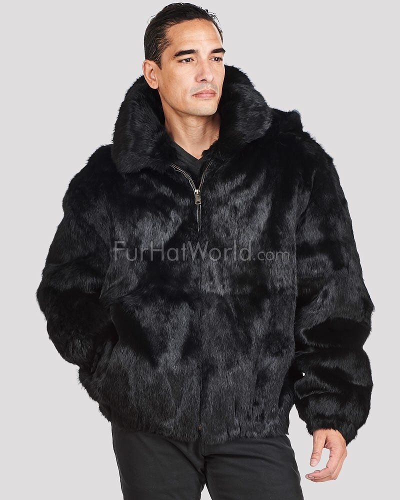 Lucas Black Rabbit Fur Hooded Bomber Jacket for Men: FurHatWorld