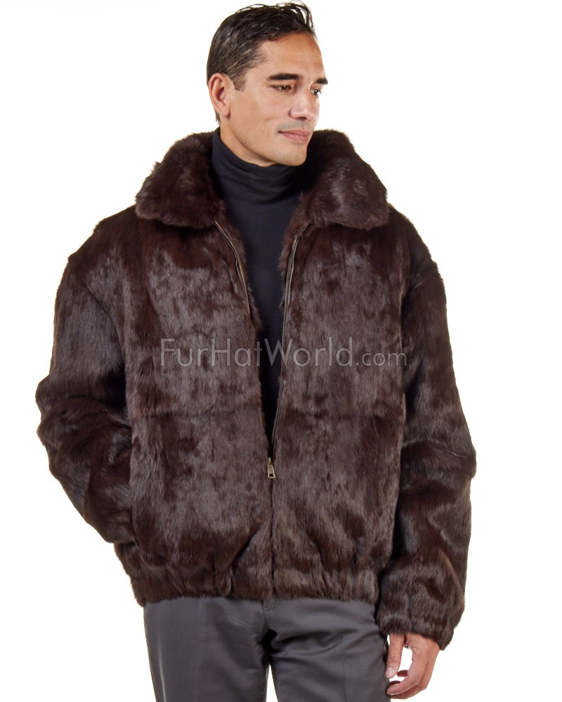 Lucas Brown Rabbit Fur Hooded Bomber Jacket for Men