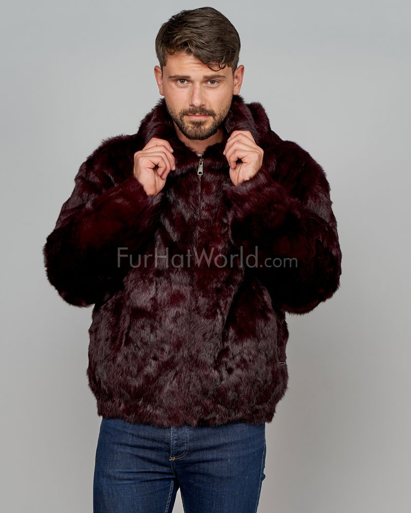 Lucas Burgundy Rabbit Fur Hooded Bomber Jacket for Men