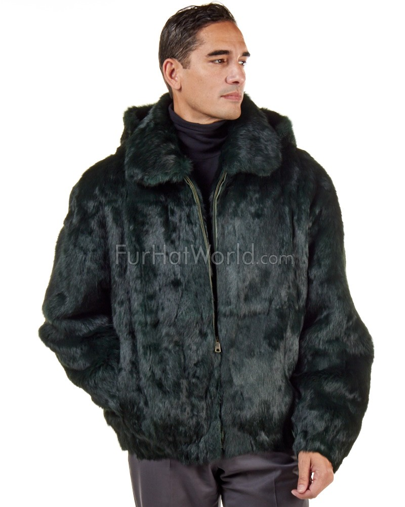 Lucas Evergreen Rabbit Fur Hooded Bomber Jacket for Men