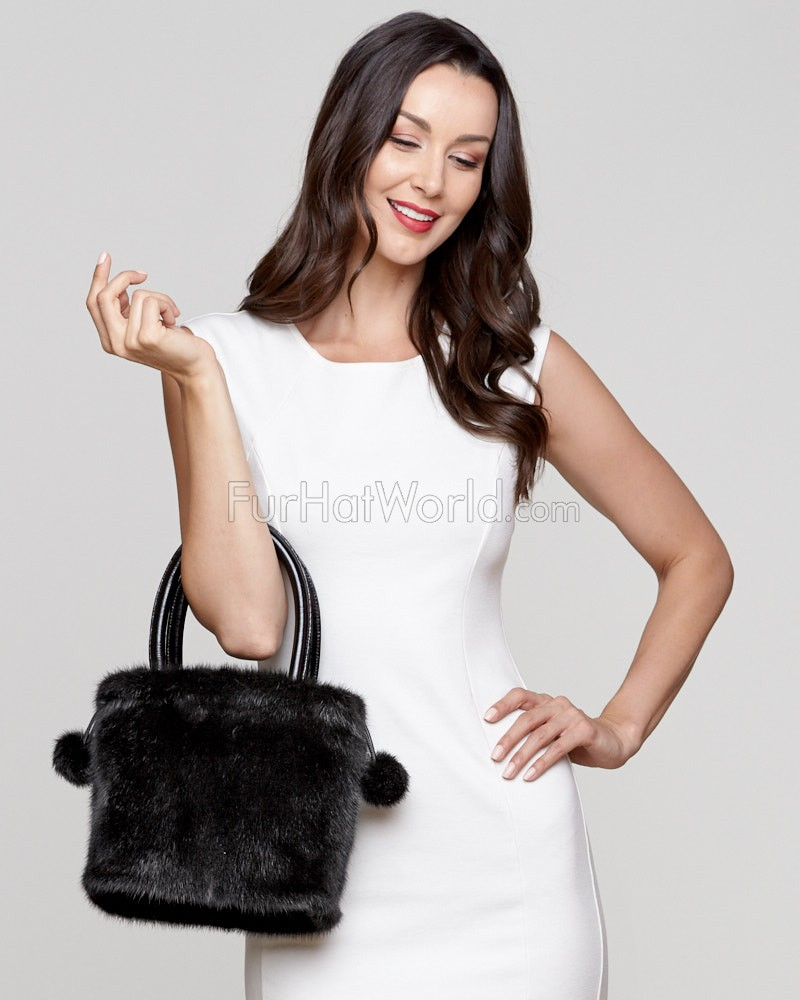 Lux Mink Handbag in Black
