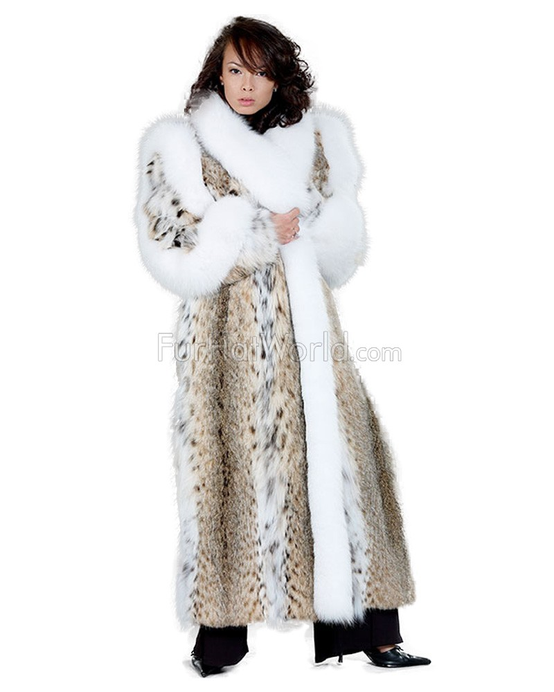 Portia Lynx Fur Coat with White Fox Trim