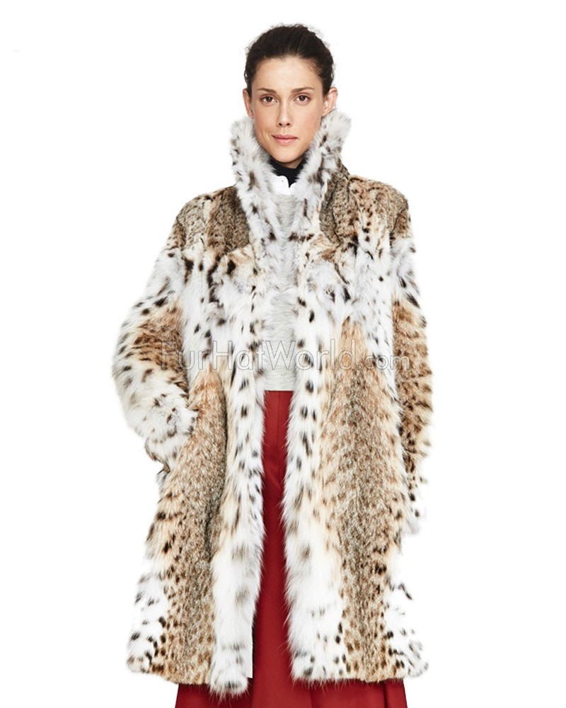 Kennedy Lynx Fur Jacket with Winged Collar