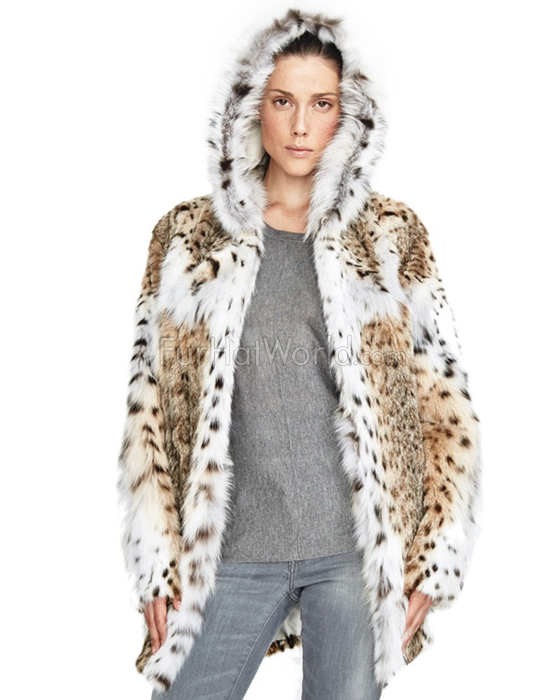 Monique Lynx Fur Mid Length Jacket with Hood