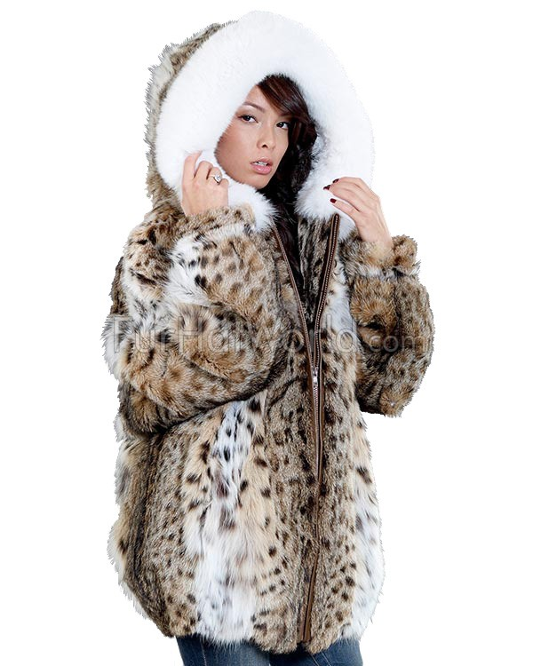 The Rochelle Lynx Fur Parka with Fox Trimmed Hood