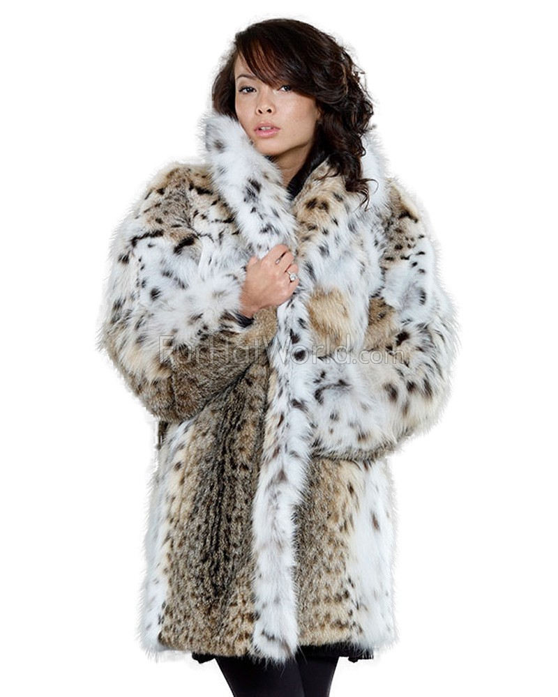 Women's Josephine Lynx Fur Stroller Coat: FurHatWorld.com