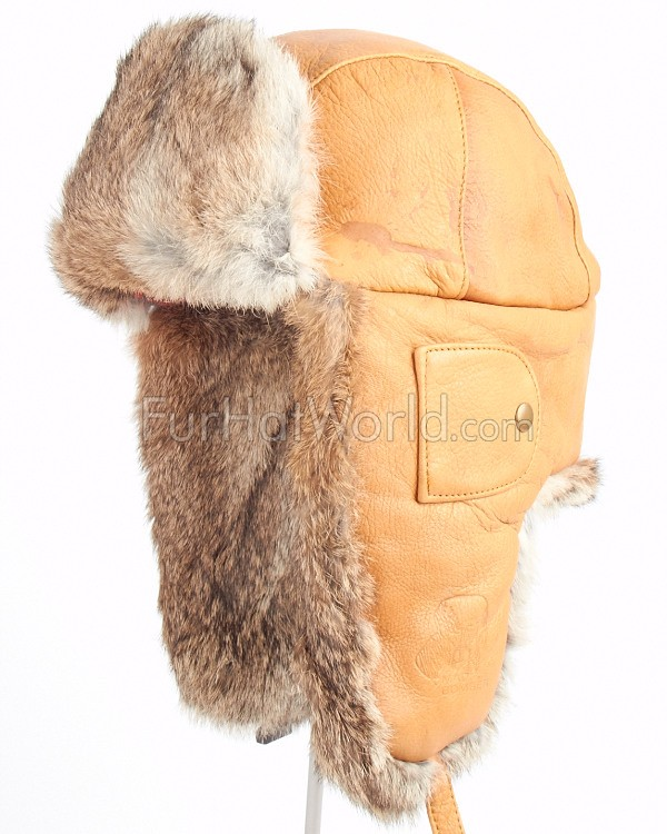 Saddle Tan Leather Mad Bomber® Hat