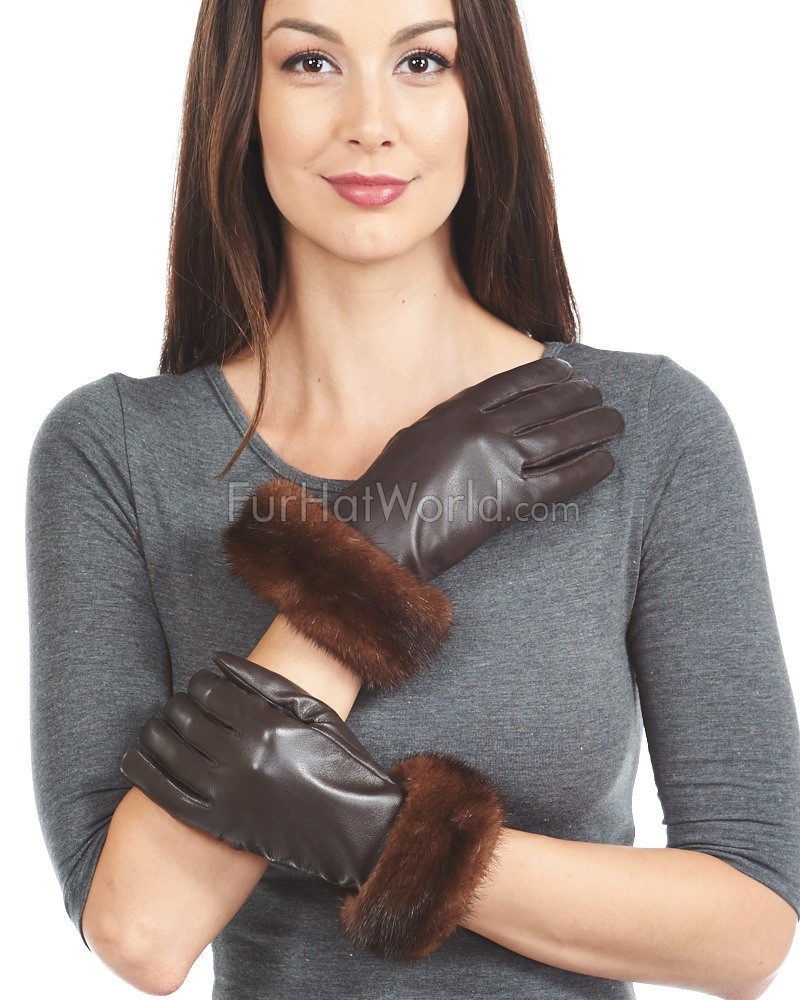 Womens leather gloves sydney - Mahogany Mink Trim Wool Lined Leather Gloves