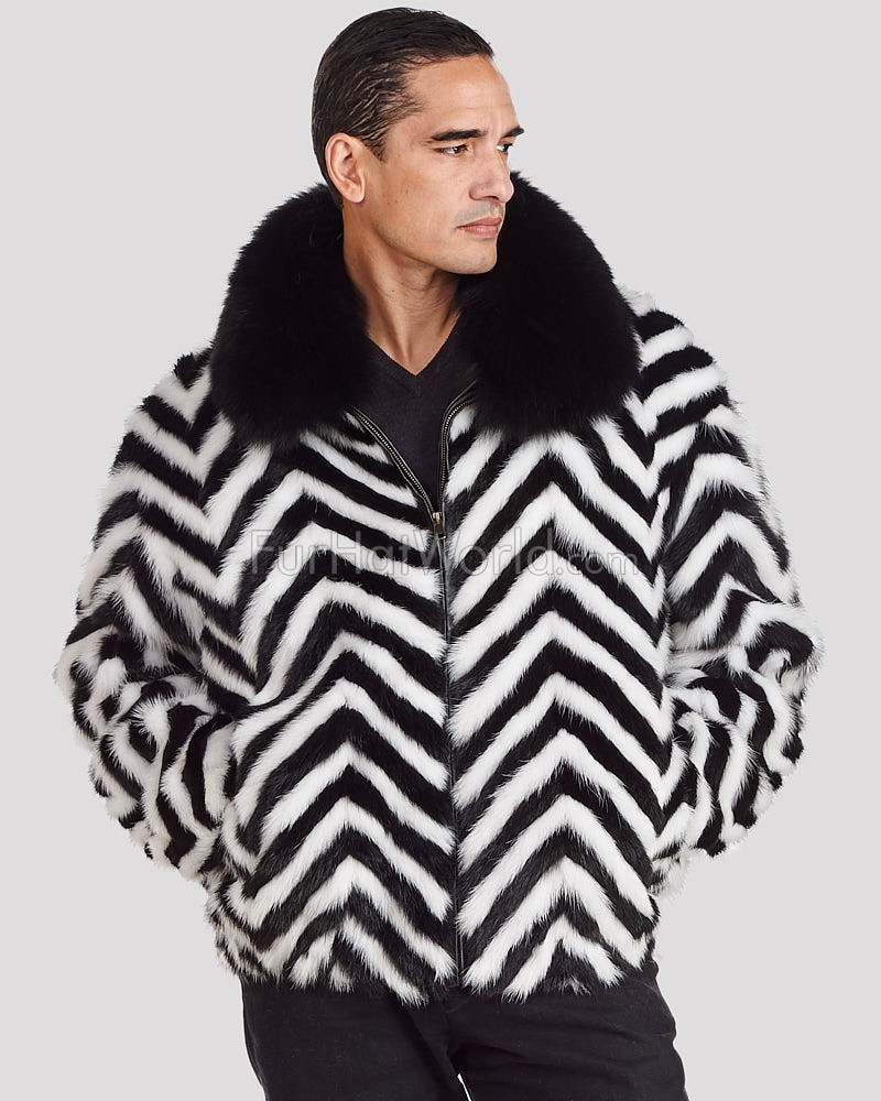 Marcus Zebra V-cut Mink Fur Bomber Jacket for Men