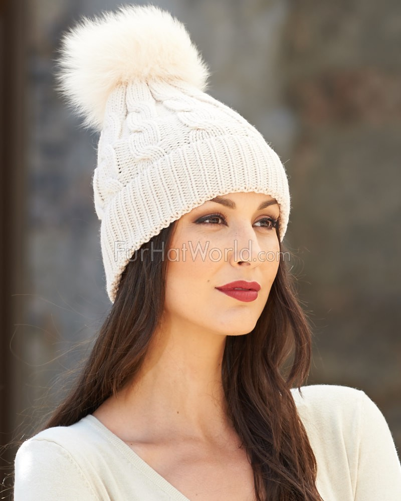 Marissa 100% Wool Beanie with Real Fox Pom Pom in Stone
