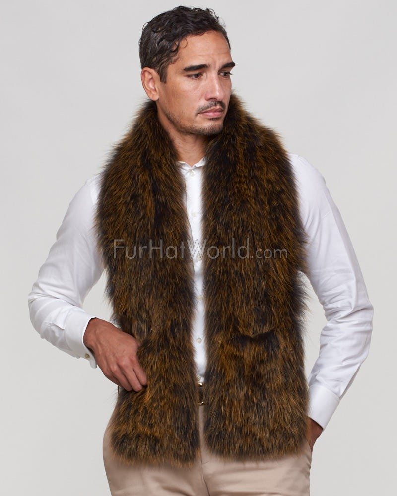 Mark Wide Knit Fox Fur Scarf with Pockets in Gold