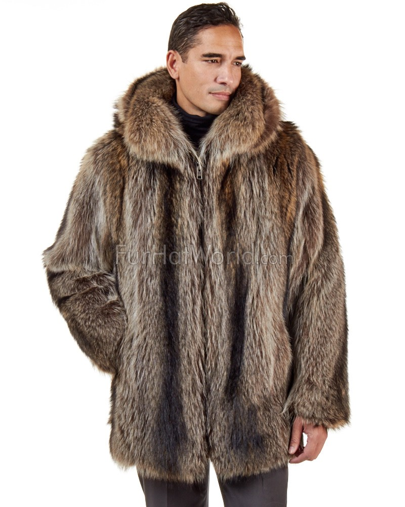 Hudson Mid Length Raccoon Fur Coat for Men: FurHatWorld