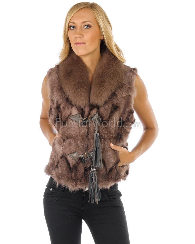 Mauve Fox Fur Vest with Toggles & Tassels