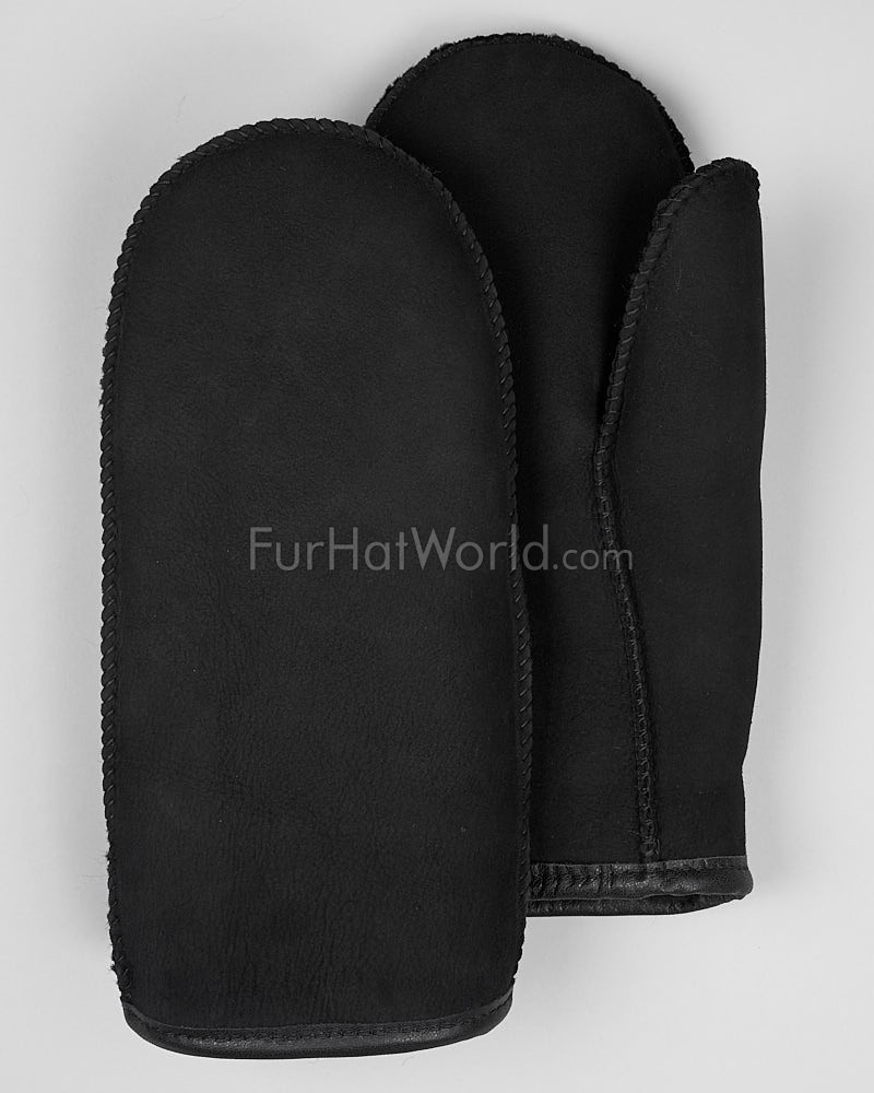 Mens Alaska Shearling Sheepskin Mittens - Black