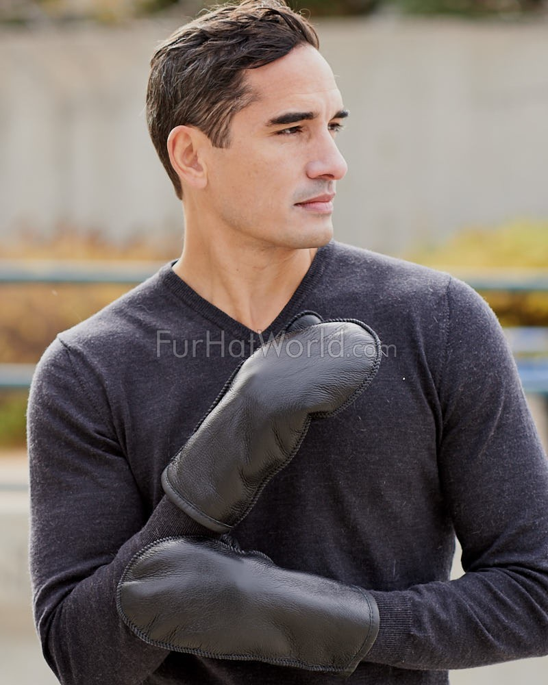 Men's Alaska Napa Leather Shearling Sheepskin Mittens in Black