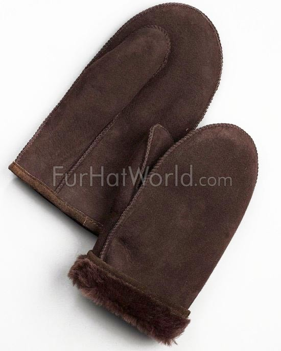 Mens Alaska Shearling Sheepskin Mittens - Brown