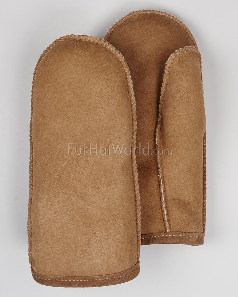 Mens Alaska Shearling Sheepskin Mittens - Tan