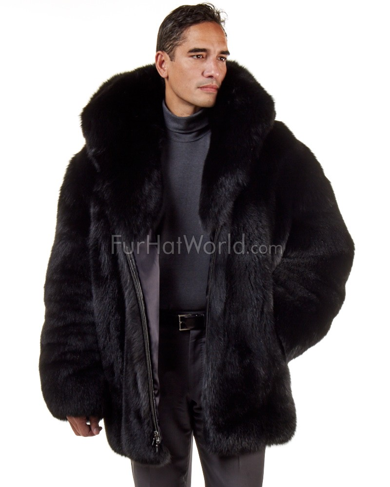 The Hudson Mid Length Black Fox Fur Coat for Men: FurHatWorld.com