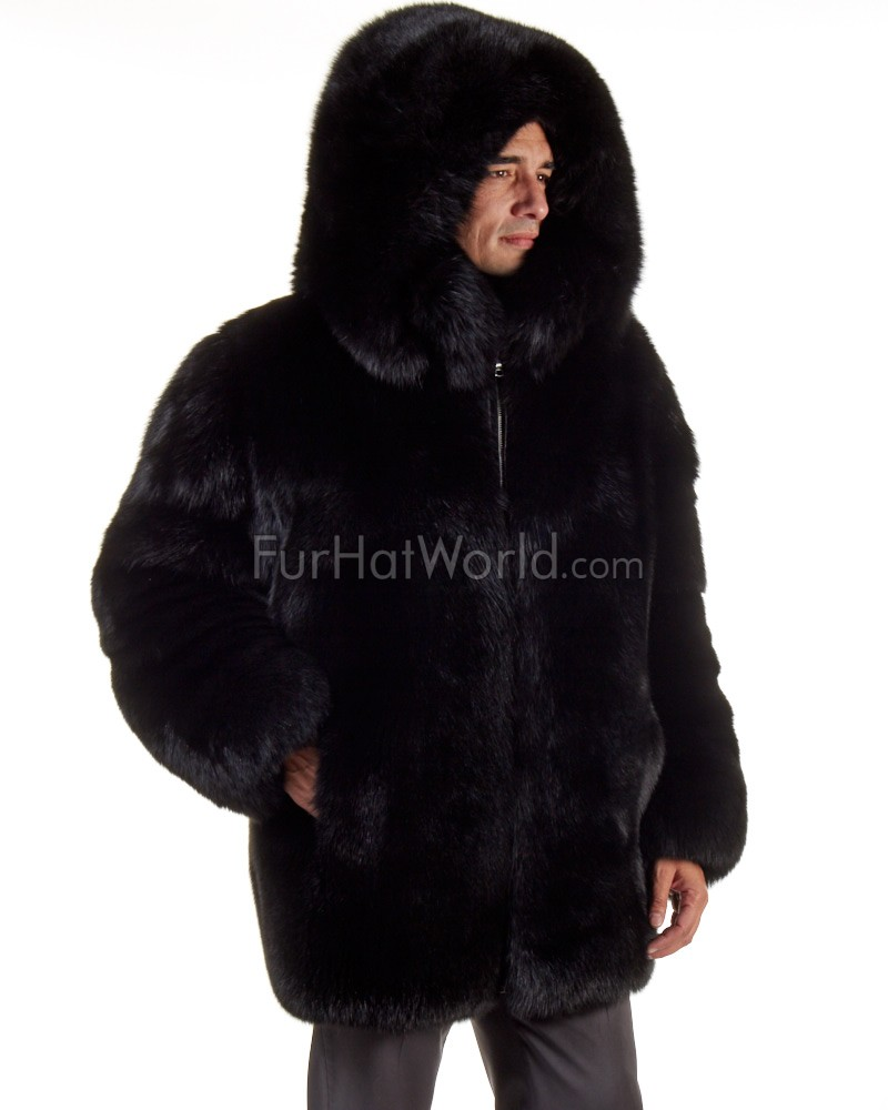 a34af920b9bd The Hudson Mid Length Black Fox Fur Coat for Men: FurHatWorld.com