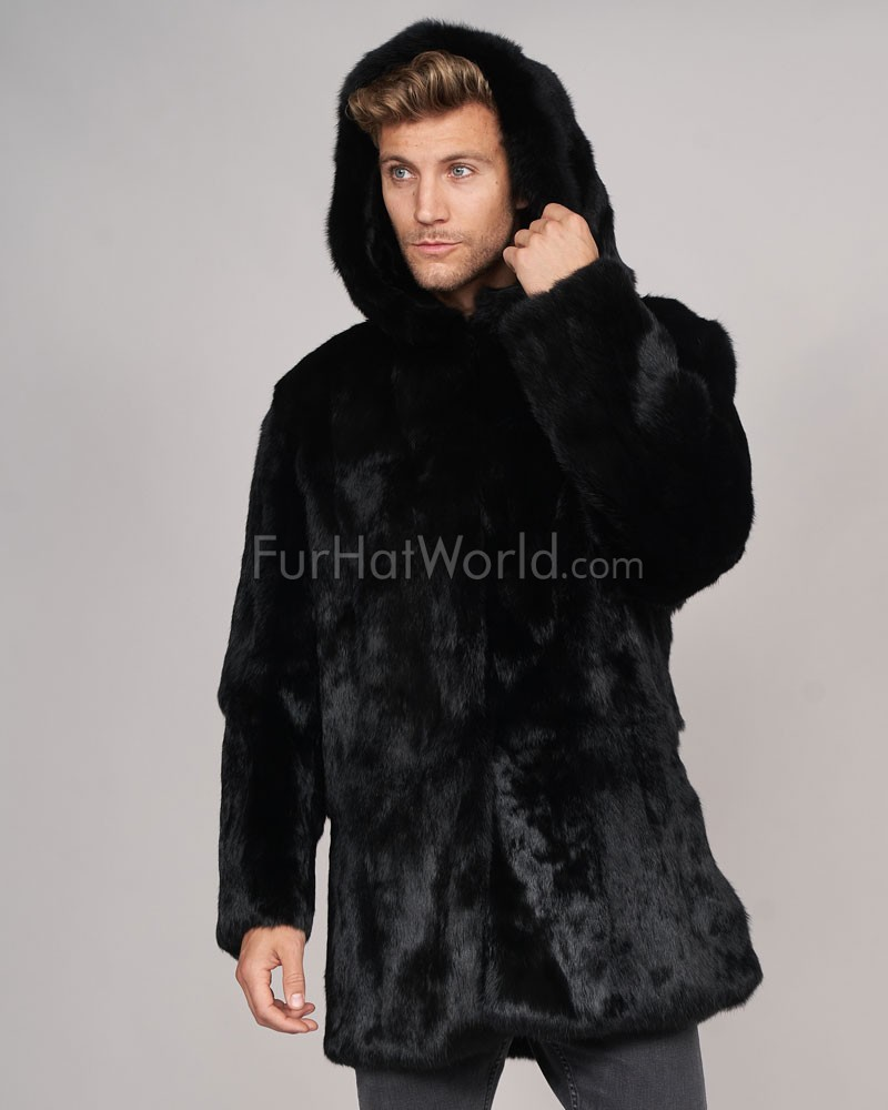 Jason Black Rabbit Fur Over Coat with Hood: FurHatWorld.com