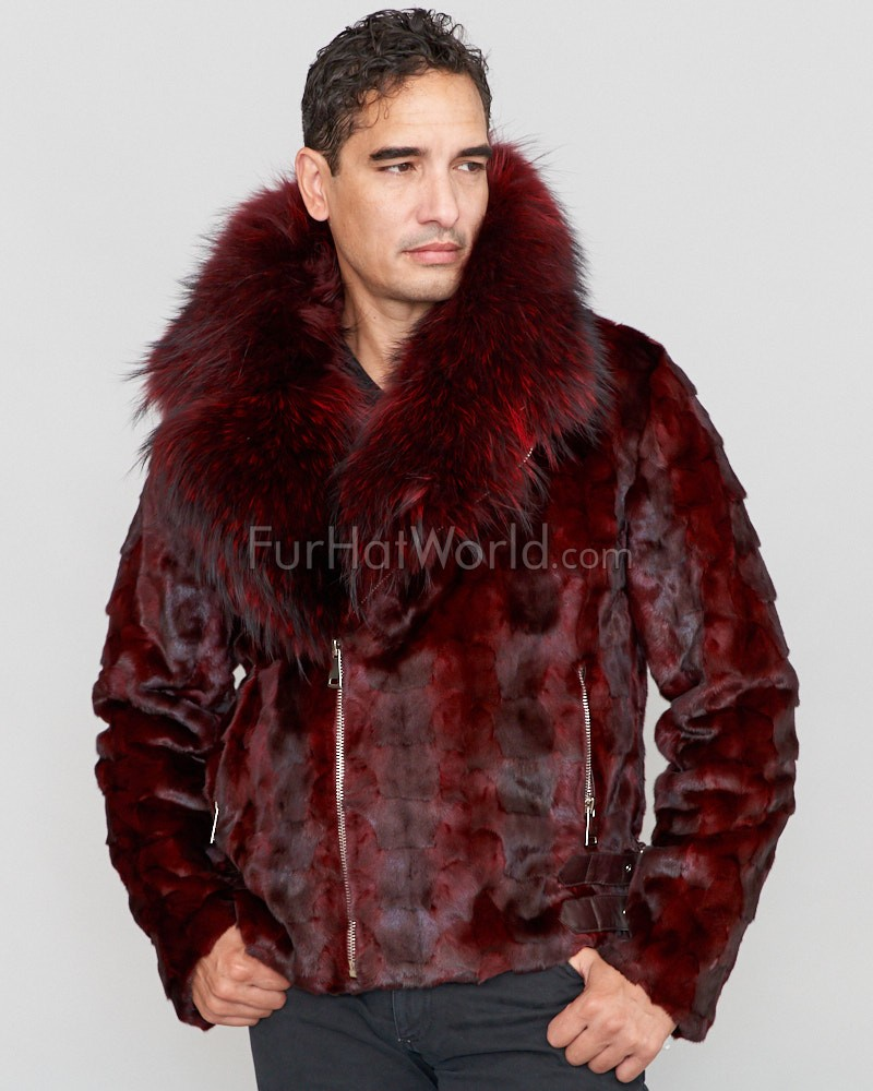 Ed Mink Moto Jacket with Fox Collar & Hood in Burgundy