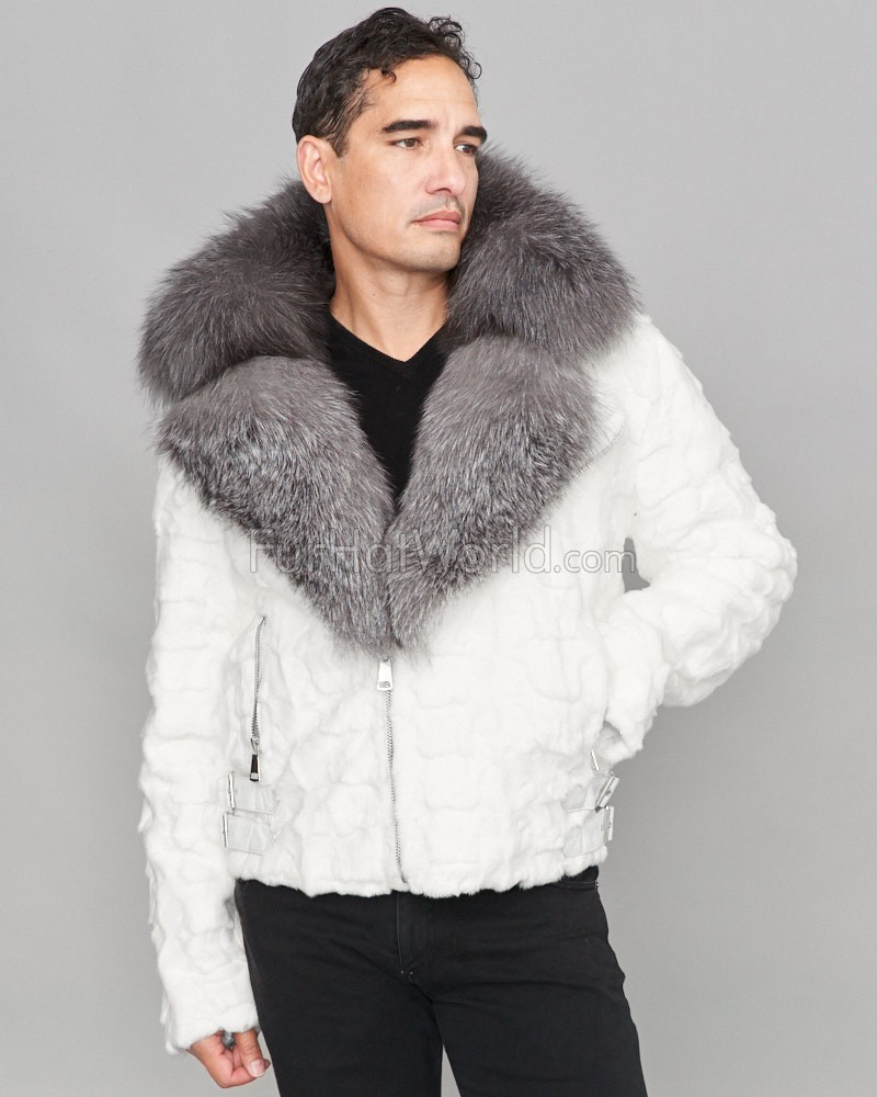 Ed Mink Moto Jacket with Fox Collar & Hood in White