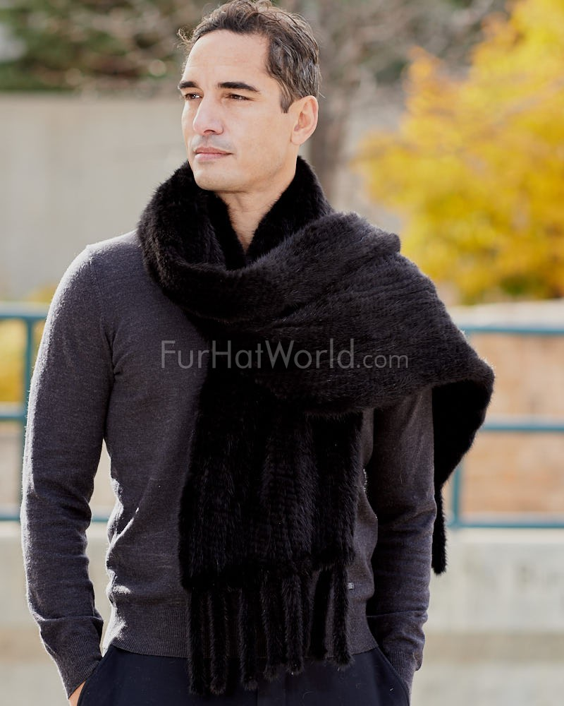 Mens Eli Black Knit Mink Fur Scarf with Tassels