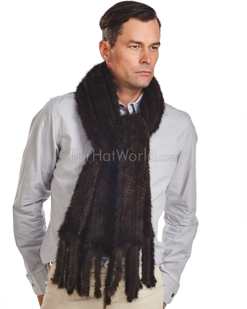 Men's Eli Mahogany Knit Mink Fur Scarf with Tassels