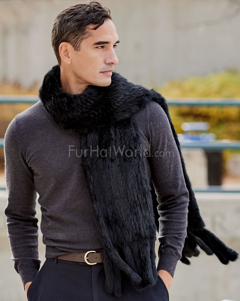 Mens Grayson Black Knit Rex Rabbit Fur Scarf with Tassels