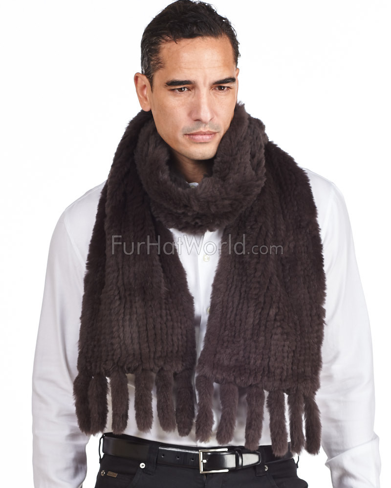 Mens Grayson Chocolate Knit Rex Rabbit Fur Scarf with Tassels