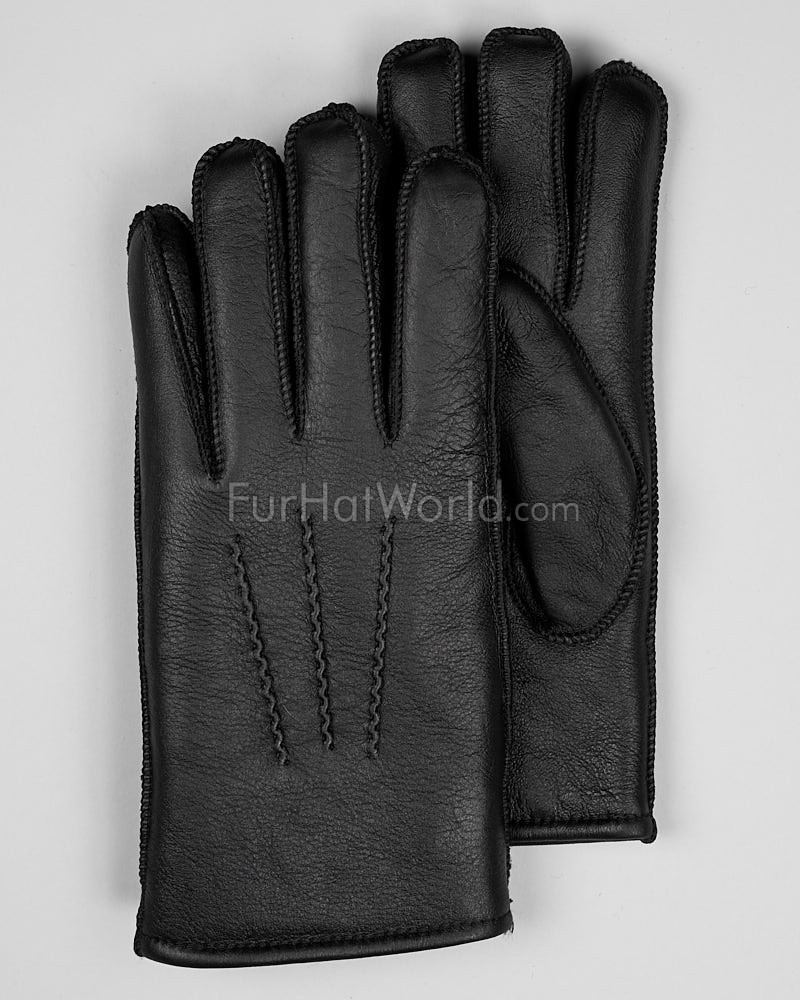 Mens Napa Leather Shearling Sheepskin Gloves - Black