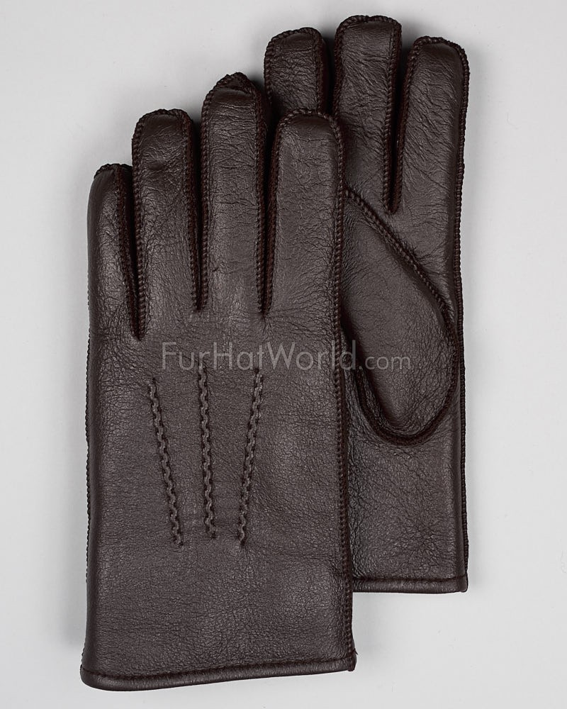 Mens Napa Leather Shearling Sheepskin Gloves - Brown