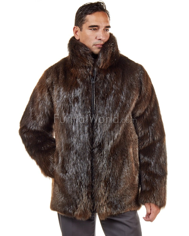 Mid Length Red Fox Fur Coat for Men: FurHatWorld.com