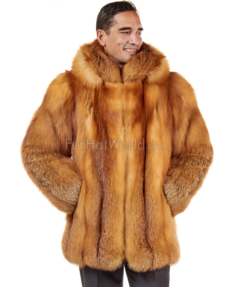 a40725c09db6d Mid Length Red Fox Fur Coat for Men  FurHatWorld.com
