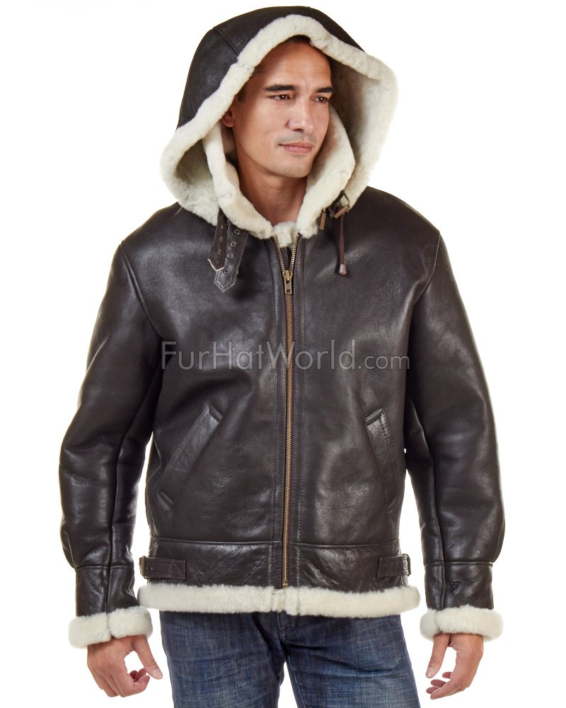 Jack Shearling Bomber with Zip Out Hood: FurHatWorld.com