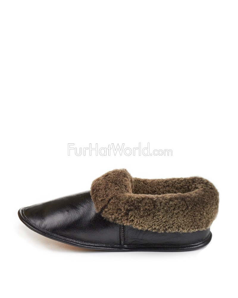 989a9a17ea456 Black Men's Napa Leather Shearling Sheepskin Slippers