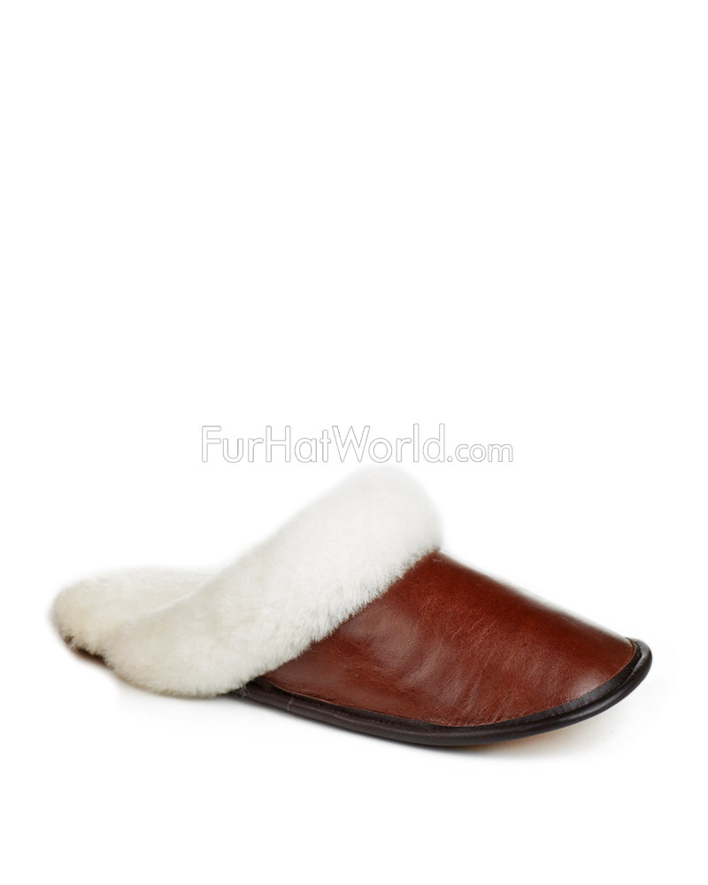 Mens Shearling Sheepskin Slip-On Slipper in Brown